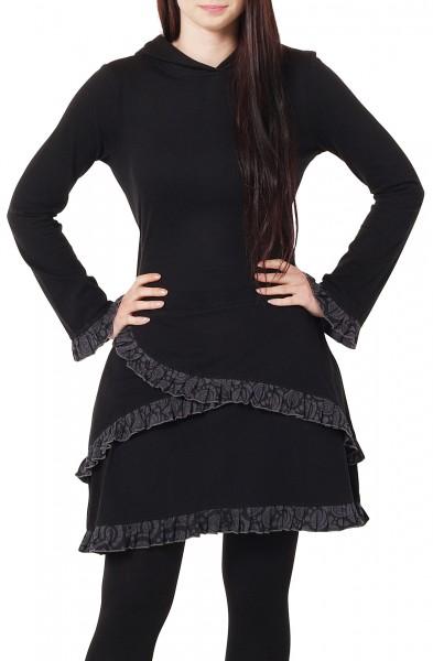 Lagenlook Kleid aus Jersey, Elfenkleid mit Zipfelkapuze dr74