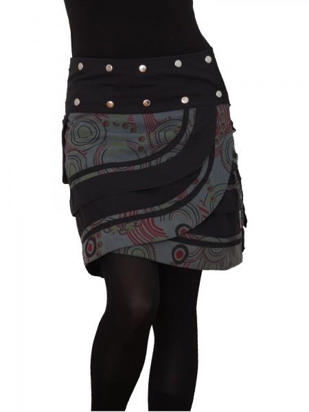 Wickelrock mit Druckknöpfen, Damen Minirock Nr. 181