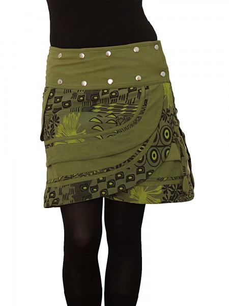 Wickelrock aus Baumwolle mit Tasche und Druckknöpfen, Modell Nr. 196