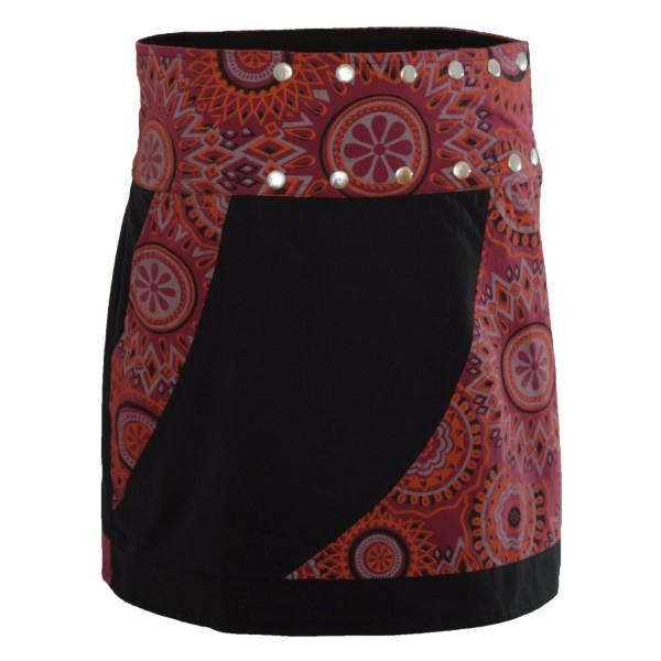 Wickelrock aus Baumwolle mit Tasche und Druckknöpfen, Modell Nr. 108
