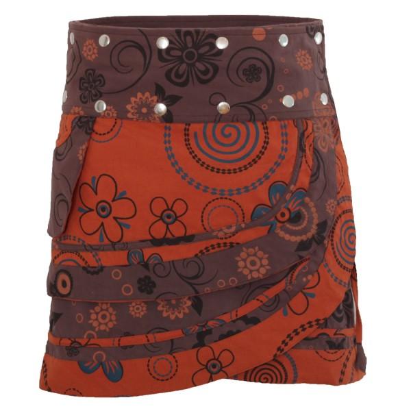 Wickelrock aus Baumwolle mit Tasche und Druckknöpfen, Modell Nr. 182
