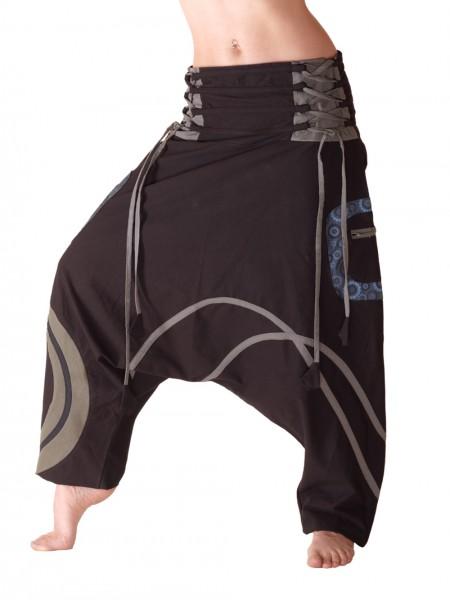 Aladinhose mit Taschen, Reißverschlüssen und Bindebändchen, Baumwolle