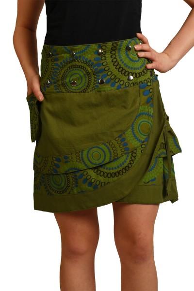Wickelrock aus Baumwolle mit Druckknöpfen, Goa Modell Nr. 14
