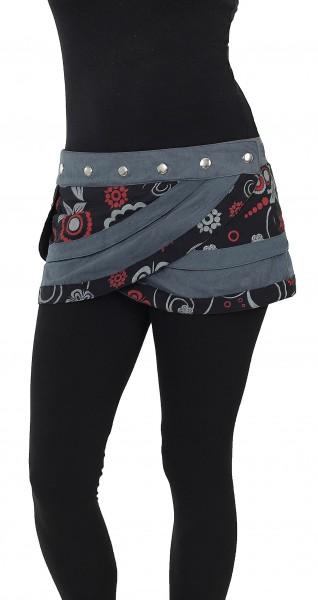 Extra Kurzer Damen Minirock mit Tasche, Wickelrock Nr. 29