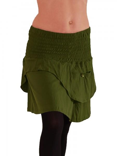 Minirock aus Baumwolle mit gesmorktem Bund und Taschen, Modell Nr. 56