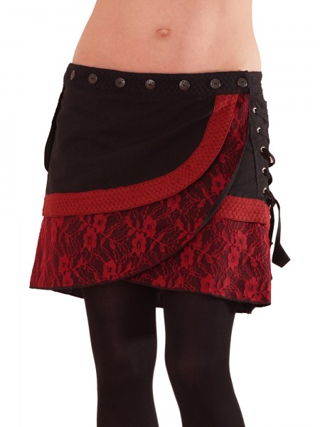 Wickelrock aus Baumwolle, abgesetzt mit Spitze, Modell Nr. 19