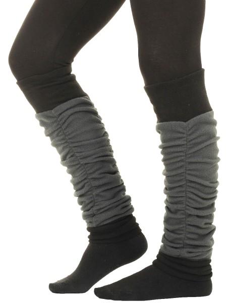 Zweifarbige Beinstulpen aus Fleece, Damen Stulpen LW34