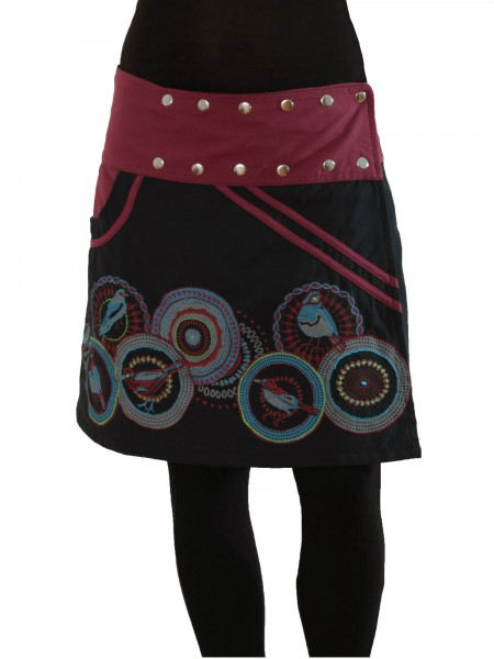 Wickelrock mit Druckknöpfen und Tasche für Damen Nr. 110