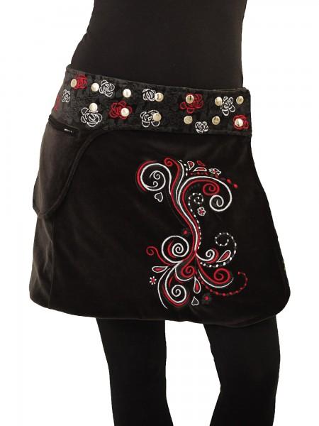 Wickelrock aus Samt mit Tasche und Druckknöpfen, Winterrock Modell Nr. 236